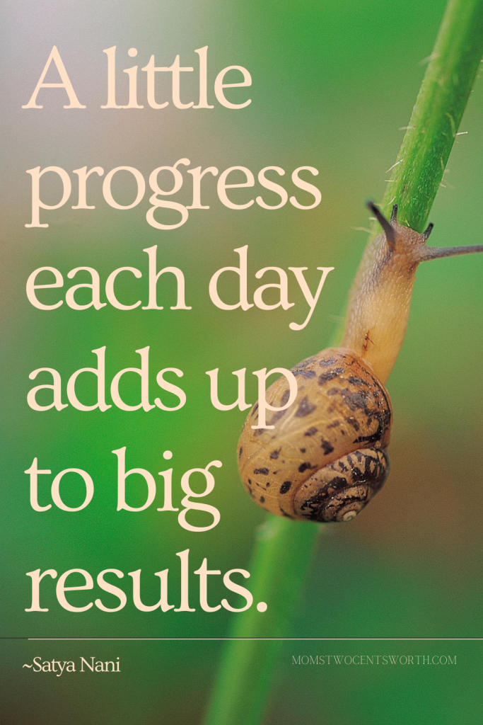 A little progress each day adds up to big results.~SATYA NANI quote plus 50 more motivational morning quotes to start your day on a positive note! #goodmorningquotes #progress #productivity