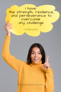 I have the strength, resilience, and perseverance to overcome any challenge. Plus 50 more motivational morning quotes to start your day on a positive note! #lifequote #quoteoftheday #positivevibes #winning
