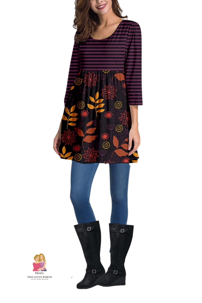 Fall never looked so good! Autumn leaves combined with purple and black stripes bring together all the colors of the season. Both the tunic and denim leggings are plus-sized. Pair it with wide calf boots and you are ready to take on the day!