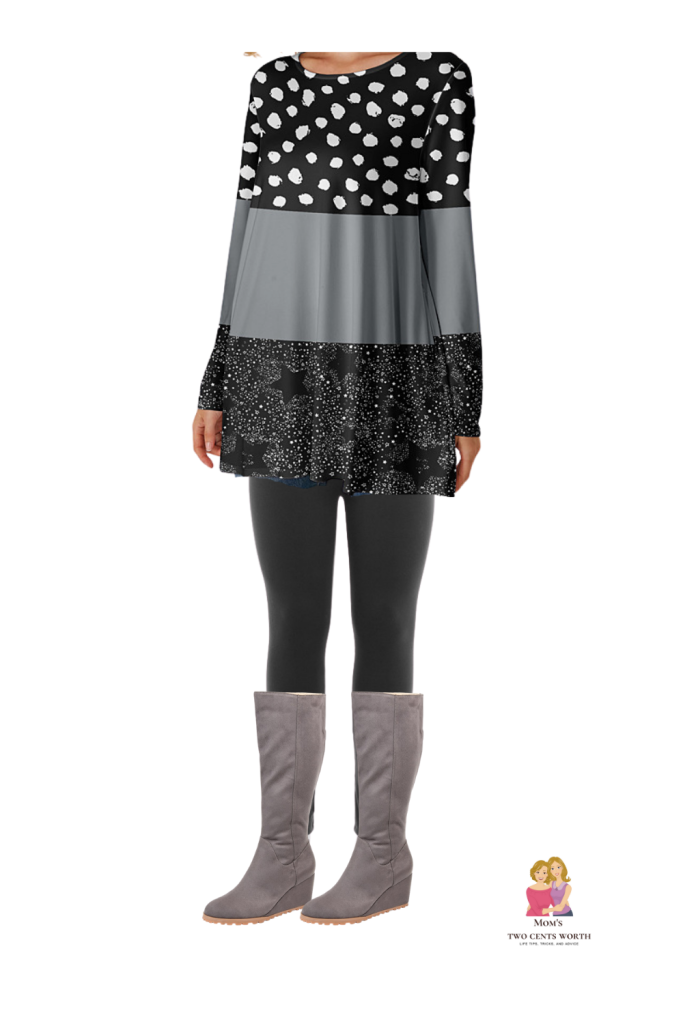 Look and feel good this fall in this stylish plus size silver and black printed tunic, black leggings, and gray wedge wide calf boots.