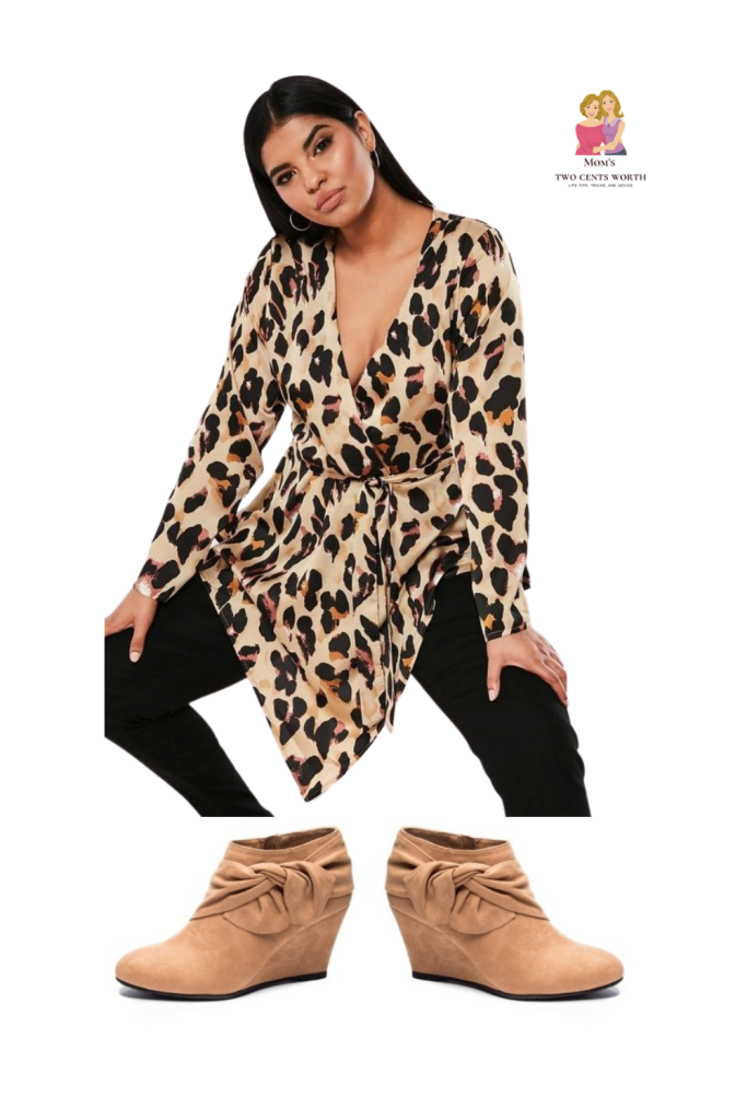 Meow!! This plus-sized cheetah wrap blouse with simple black leggings and booties is sure to let everyone know that you are one cool cat! Purrfect for work, date nights, or sipping a glass of wine with friends!