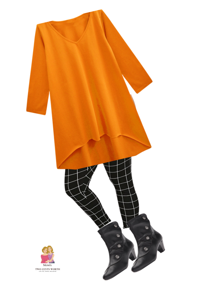 Paired with black leggings and booties, this orange tunic is perfect for autumn days and nights!